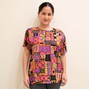 80s Abstract Geometric Colorful Rayon Blouse Med
